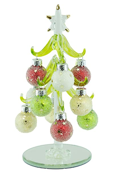 Crystal Christmas Ornaments.Ls Arts 6 Crystal Christmas Tree Green With Star Glitter Ornaments