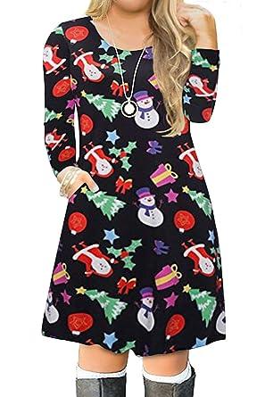 36709a4db8c VISLILY Women s Plus Size Christmas Printed Party Dress Xmas Swing Tshirt  Dress 14W 02B