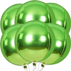 Green Foil Balloons for Birthday Decorations -Pack 6 | 22 Inch 4D Foil Mylar Sphere Metallic Balloon | Apple Green Round Balloons for Graduation Decorations, Tropical Jungle Safari Dinosaur Theme