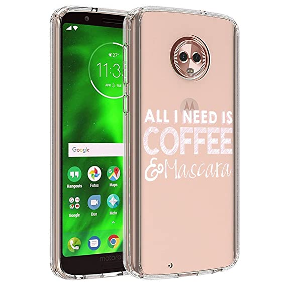 Designed Coffee & Mascara MOTO G6 PLUS Soft Crystal Case Slim Waterproof Clear Pattern Protective case