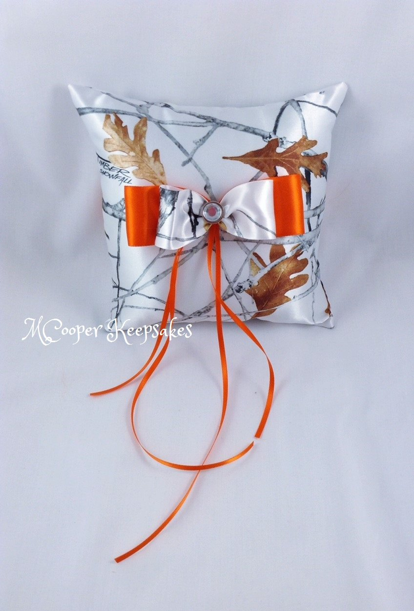 True Timber White Satin Camo & Orange Ring Bearer's Pillow