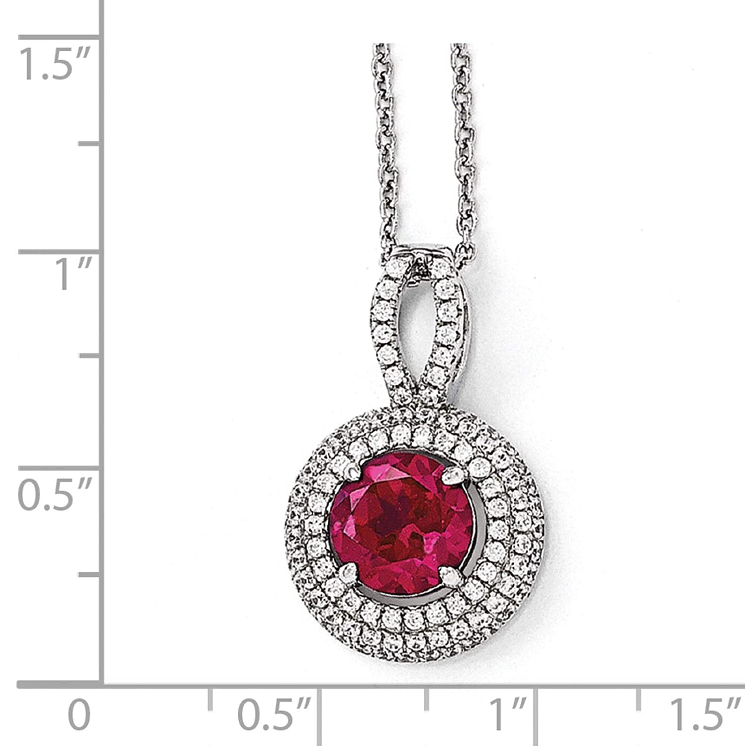Brilliant Embers Sterling Silver Rhodium-plated Pink /& White CZ Circle Pendant Necklace 18 2 Extender