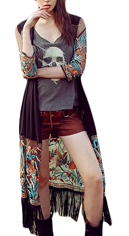 Donna Kimono di Chiffon Taglie Forti Copricostume Stampa Floreale Classiche Unique Vintage Cardigan Lungo Manica Lunga con Tassels Boemo Moda Casual Aperto Outwear per Partito Spiaggia Tops
