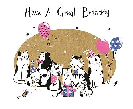 Purrfect Pals   Biglietto di auguri di buon compleanno gatti