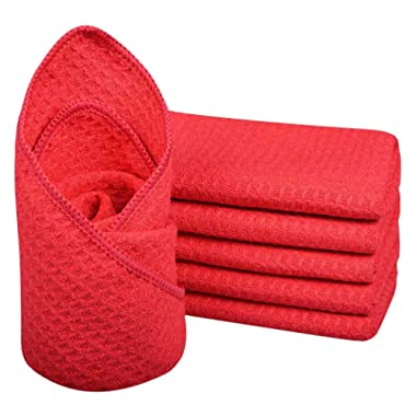 Sinland Microfiber Waffle Weave Kitchen Dish Rags Fast Drying Towels Dish Cloths Cleaning Cloth 12Inchx12Inch Red 6pack