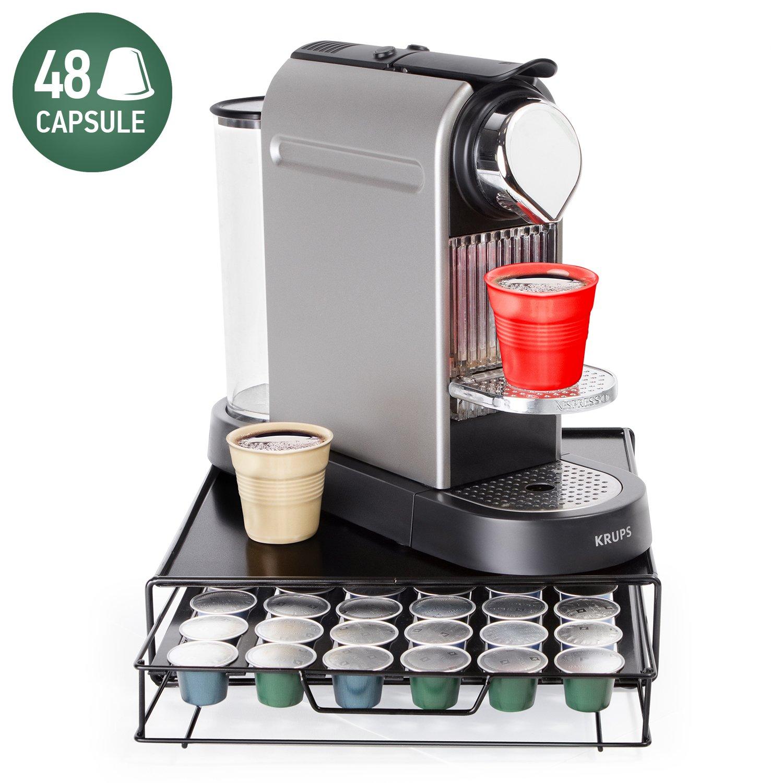 Tatkraft Aim Nespresso Coffee Pod Holder 48 Capsules | Coffee Pod Storage Drawer | Compact Design for Tidy Kitchen 11.3 X 2.8 X 12.6''