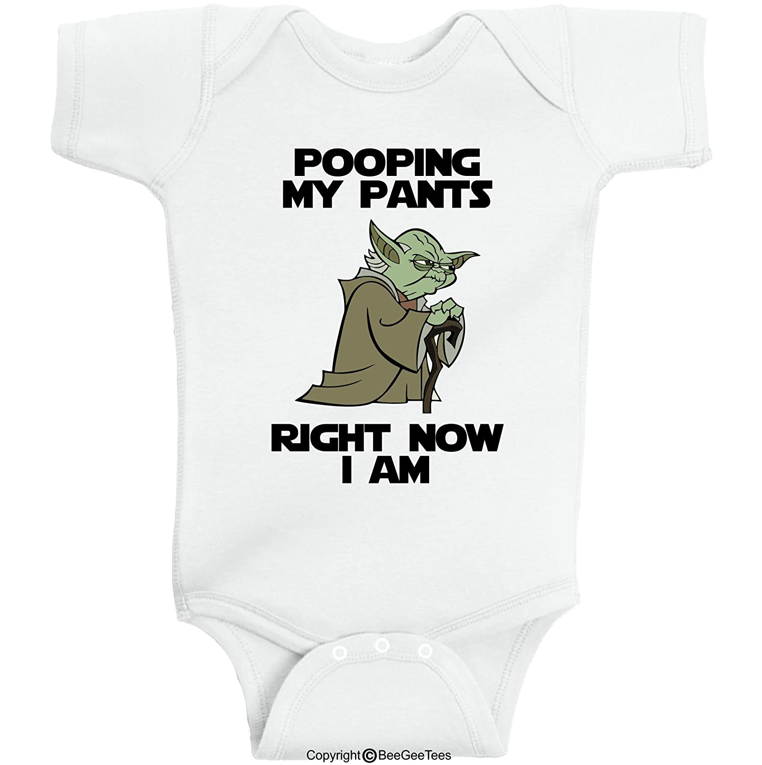BeeGeeTees Pooping My Pants Right Now I Am Funny Star Wars Yoda Onesie