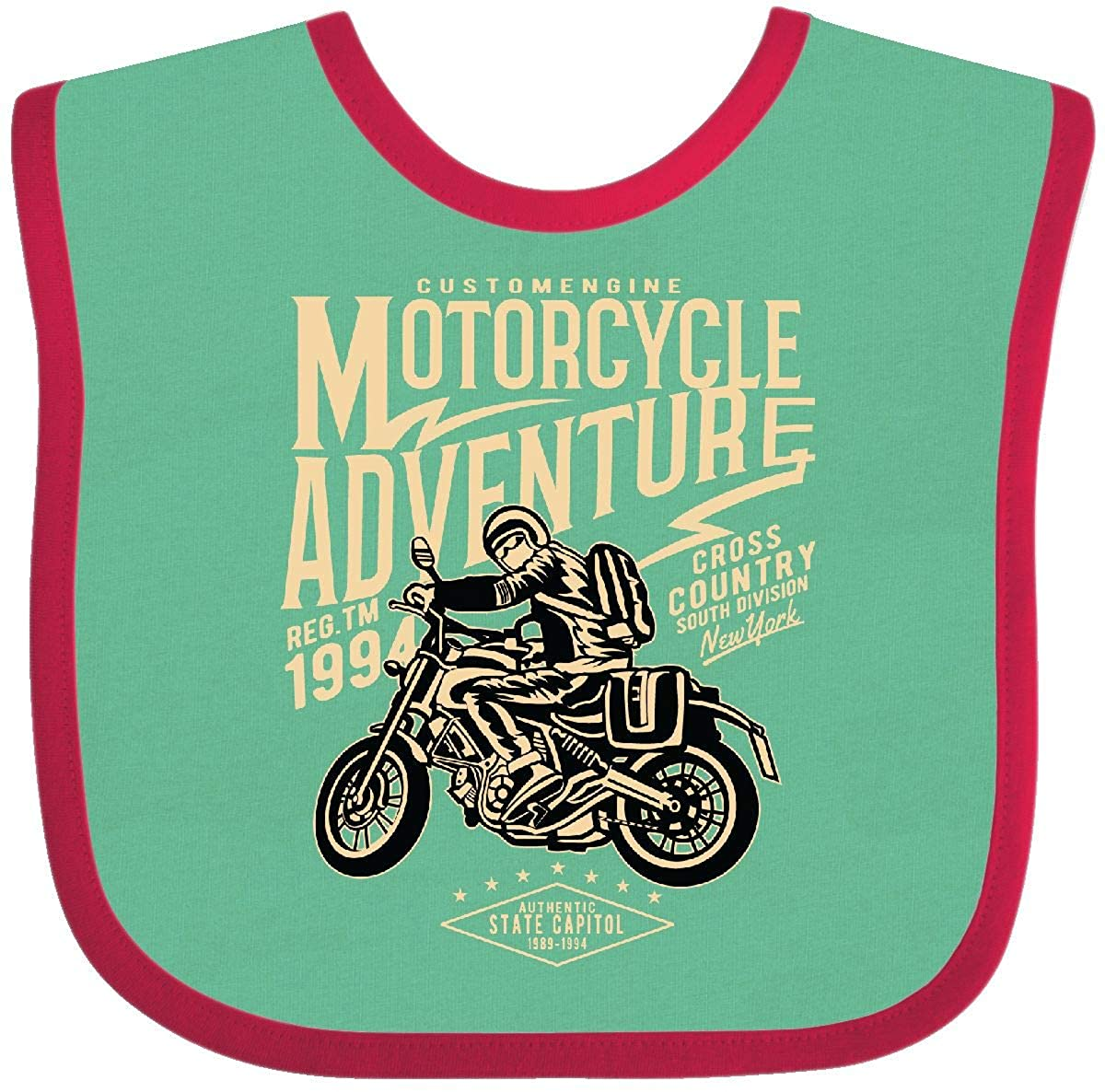 119f61041064 Amazon.com: Inktastic - Motorcycle Adventure Baby Bib Green and Red 2c503:  Clothing