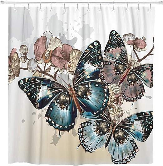Waterproof Abstract Beauty Butterfly Flower Shower Curtain Liner Bathroom Hooks