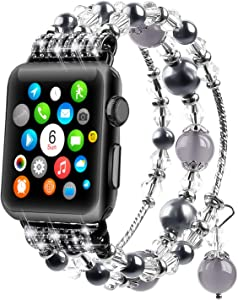Tomazon Bracelet Compatible for Apple Watch Band 40mm 38mm Series SE/ 6/5/4/3/2/1, Fashion Handmade Elastic Stretch Pearl Beads iWatch Wristbands for Women Girl, Gray
