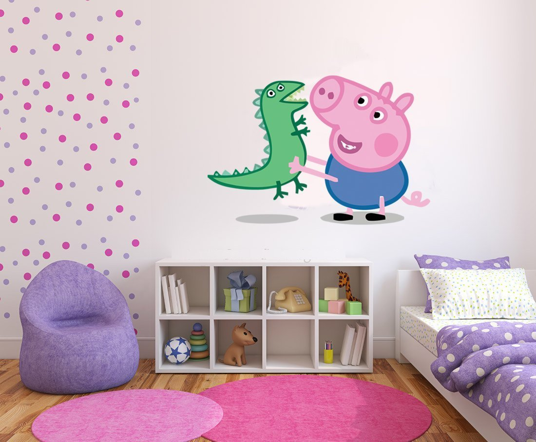 Peppa pig george pig dinosaur wall stickers art decal vinyl girls peppa pig george pig dinosaur wall stickers art decal vinyl girls bedroom amazon kitchen home amipublicfo Images