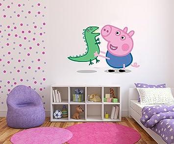 Autocollant Mural En Vinyle Peppa Pig Et Dinosaure Pour Chambre D
