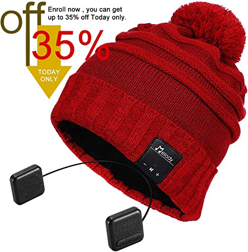 Bluetooth Beanie Hat, Topple Superior CSR Wireless Bluetooth Headphone Beanie with HD Stereo Earphone Speaker Mic,Unisex Washable Men Women Winter Outdoor Fitness-TB206RP-Red