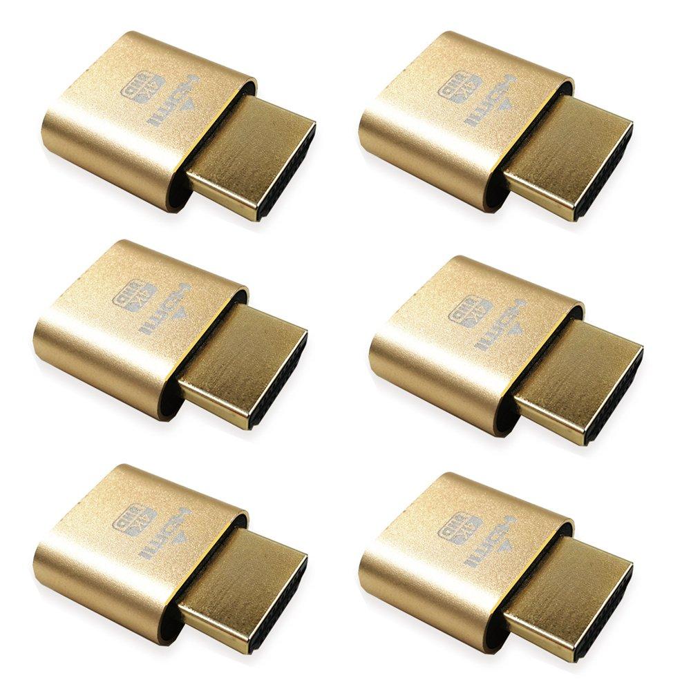 Virtual Display Adapter HDMI 2.0 DDC EDID Dummy Plug Display Emulator 1920x1080 @60Hz-6pack