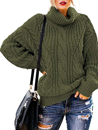 Womens Plus Size Turtleneck Sweater Cowl Neck Chunky Knit Batwing Long Sleeve Winter Pullover Sweaters Jumper