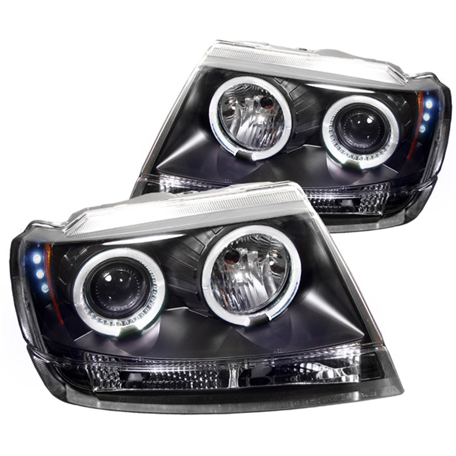 Amazon com spyder auto jeep grand cherokee black halogen led projector headlight automotive