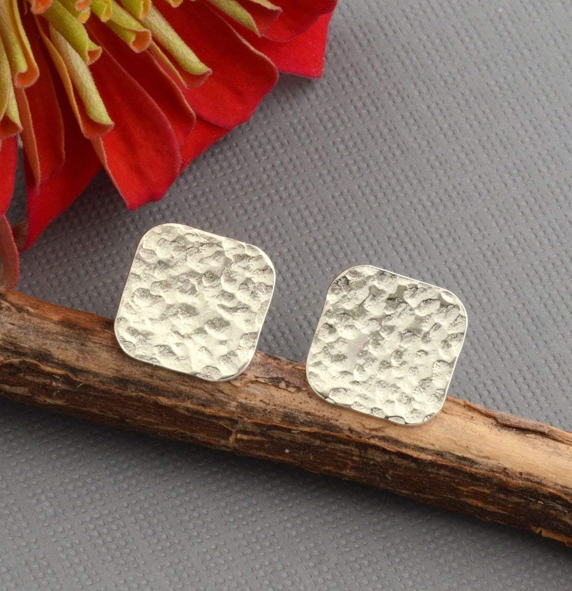 Flat hammered sterling silver disc stud earrings lightweight 10mm squares