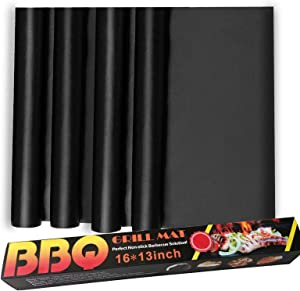 BOMJJOR Oven Liners 4 Pieces Non-Stick Heavy Duty BBQ Grill Mat Heat Resistant Oven Liner for Toaster Ovens Dishwasher Safe Liner Mats 16inch x 13inch Pack of 4