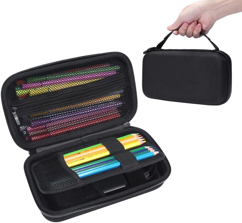 Soucolor Colored Pencil Case Holder Multifunction Pencil Zipper Pouch Pen Bag Pencil Pen Box 72 Slot Black