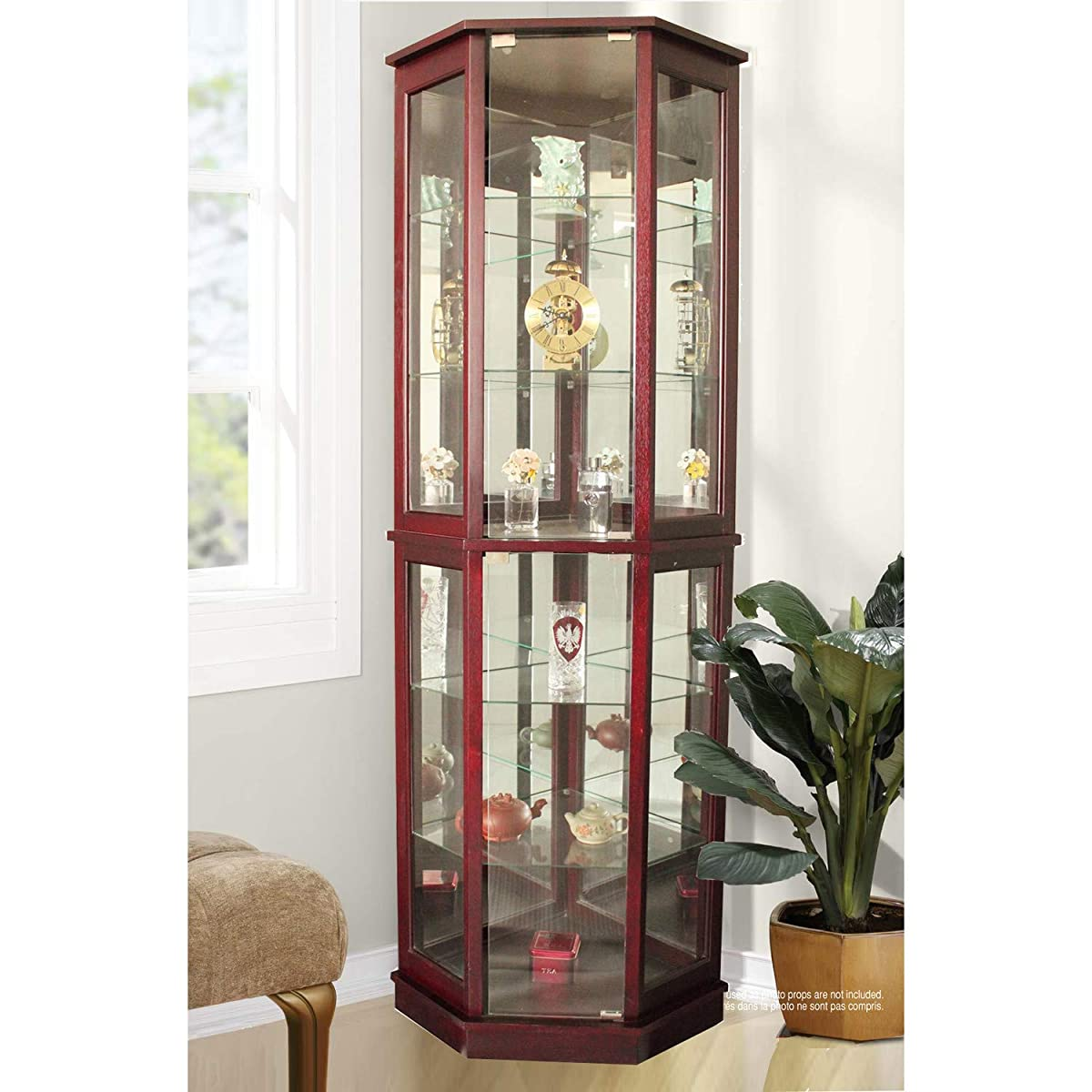 Jenlea Lighted Standing Corner Curio Cabinet and Trophy Display Case with Bonus Feather Duster