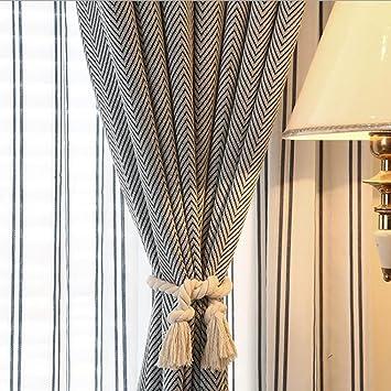 2 piezas algodón Natural cortinas de punto 31.49 pulgadas mano atada cuerda con campo europeo estilo borla Edge Twist Atados a cuerda: Amazon.es: Hogar