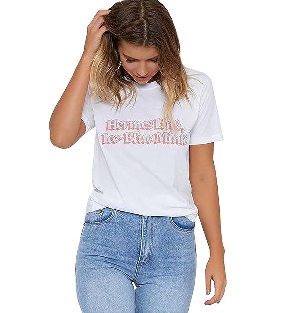 Camisetas para Dama Mujer Camisas de Manga Corta Blancos Top Verano Casual Holgada Algodón T-
