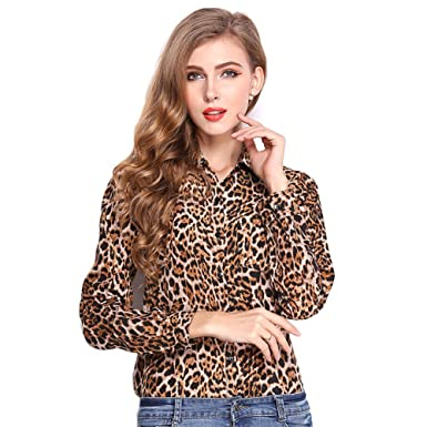 71f3b20e5 Image Unavailable. Image not available for. Color: Women's Long Sleeve Leopard  Print Button Down Basic Shirt ...