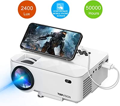 Amazon.com: T TOPVISION Mini Proyector, 2400Lux Proyector ...