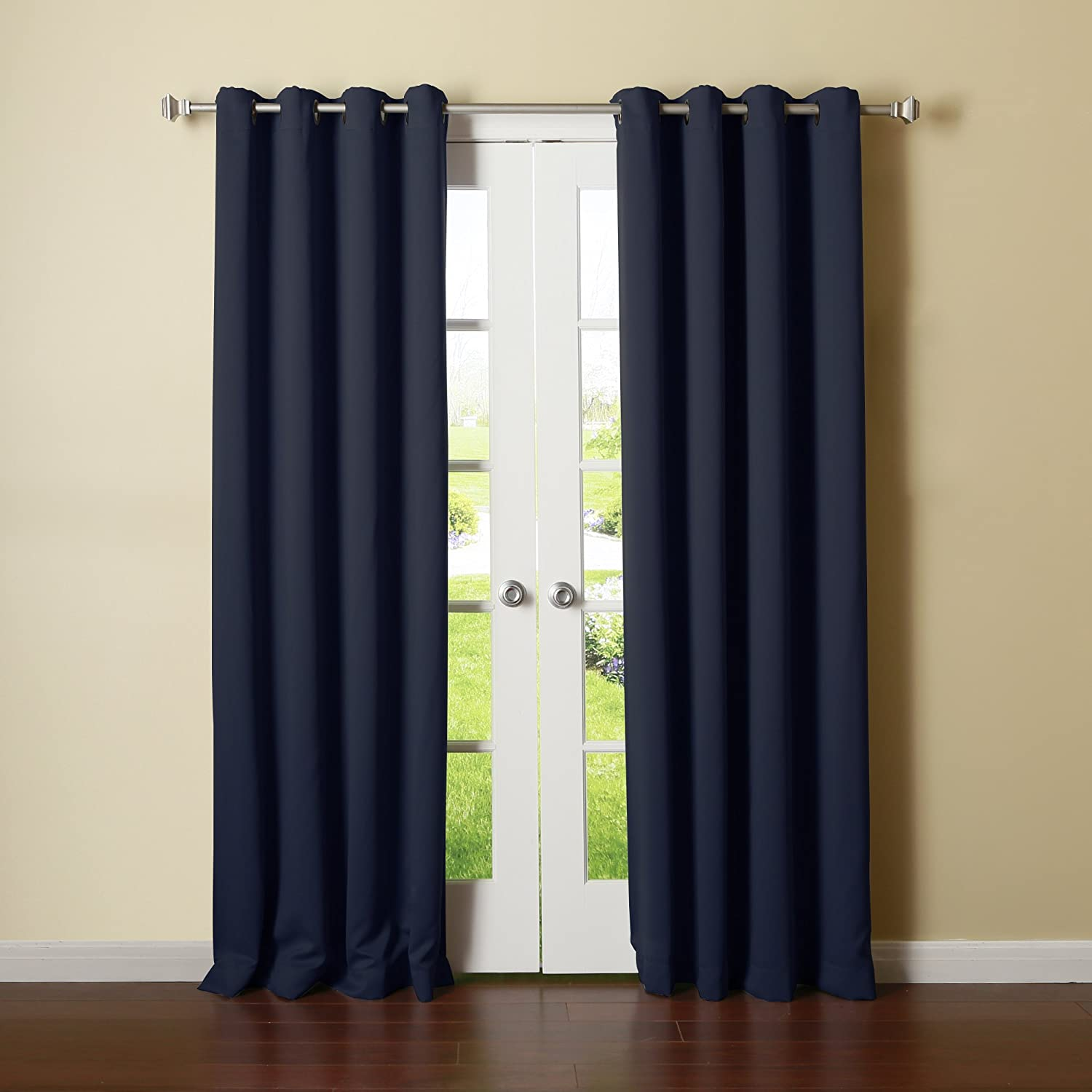 Navy curtains blackout - Blackout Curtains White 84 Navy And White Blackout Curtains Amazon Com Best Home Fashion Thermal