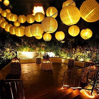 Cadena de luces solares para exteriores, farolillos de decoración para jardín, patio, boda, decoración festiva, blanco cálido, 6.5 M/30 LEDs: Amazon.es: Iluminación