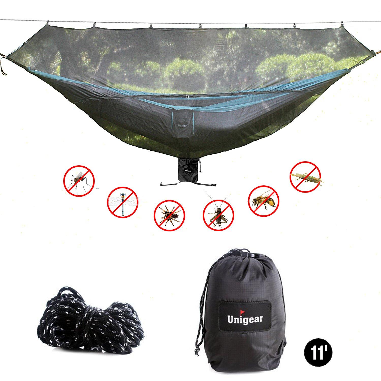 """Unigear 11 'ハンモックBug Net for 360 ° Mosquitos保護サイズ132 """" x 55 """" B07586VM6V  Black/Dark"""