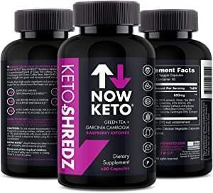 Keto+SHREDZ Raspberry Ketones Supplement Capsules | Best Ketosis Supplement to Facilitate Fat Burn, Boost Energy, and Stimulate Your Mind | Contains Garcinia Cambogia, Green Tea, Caffeine, and Green
