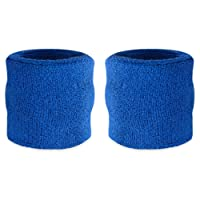 Suddora Wrist Sweatband - Athletic Cotton Terry Cloth Wristband For Sports (Pair)