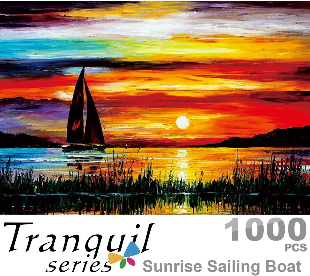 Ingooood- Jigsaw Puzzles 1000 Pieces for Adult- Tranquil Series-Sunrise Sailing Boat_IG-0459 Entertainment Wooden Puzzles Toys