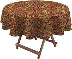 "Tablecloths for Round Tables Moroccan for Garden Patio Party Tabletop Vintage Hand Drawn Style Ottoman Figures Ancient Trellis Floral Motifs 54"" Diameter Orange Yellow Brown"