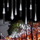 Outdoor Lights,LED Meteor Shower Rain Lights,Waterproof Garden Lights 30cm 8 Tubes 144leds Snow Falling Raindrop Icicle Cascading light for Holiday Wedding Xmas Tree Decor White Color