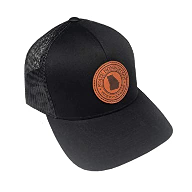 e65d3a70a4c97e State Homegrown Georgia Pride Leather Patch Tucker Hat-Black at Amazon  Men's Clothing store: