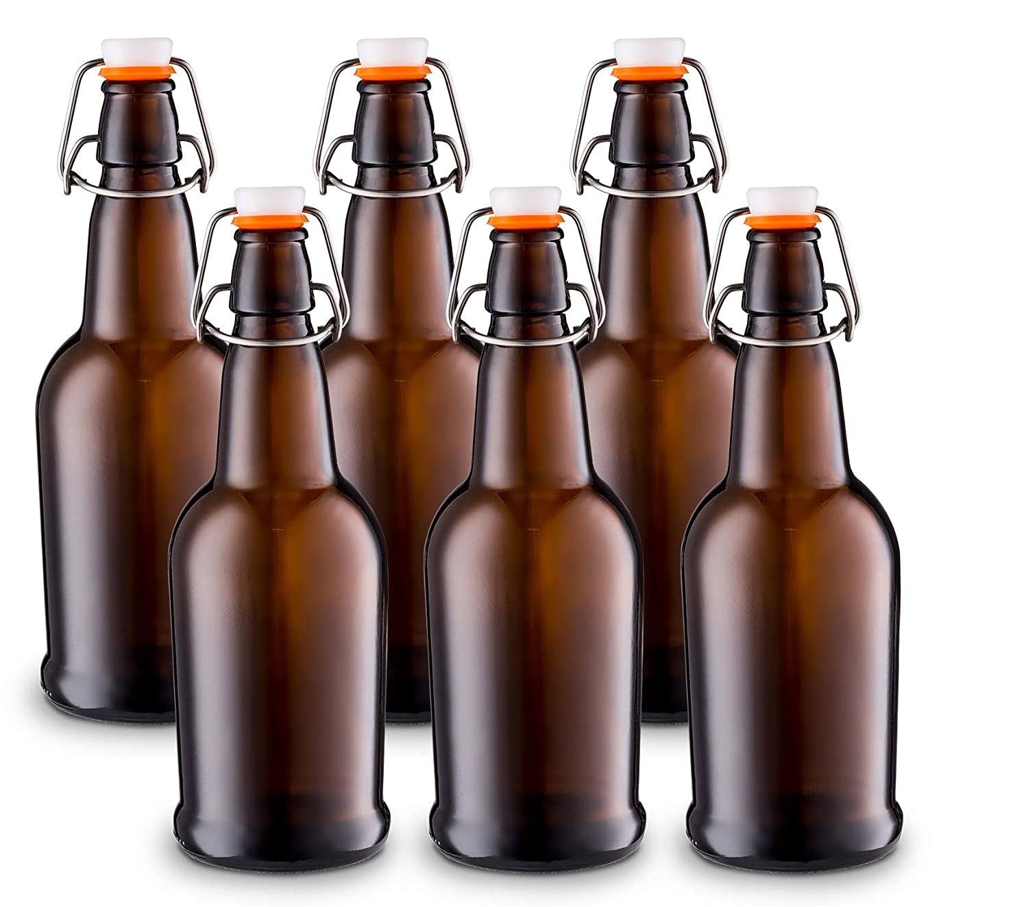 Home Brewing Glass Beer Bottle with Easy Wire Swing Cap & Airtight Rubber Seal Amber - 16oz - Case of 6 - by Tiabo COMINHKPR136469