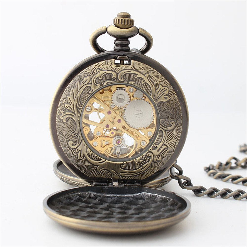 Zxcvlina Classic Smooth Retro Carving Mechanical Pocket Watch Boutique Unisex Pocket Watch Bronze with Chain for Gift Suitable for Gift Giving by Zxcvlina (Image #4)