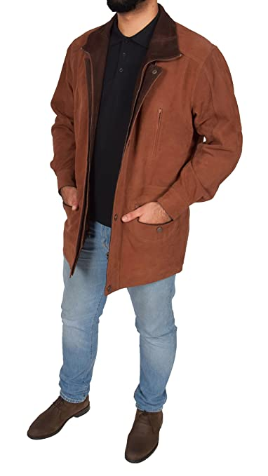 House of Leather Mens Leather Parka Car Coat Classic Overcoat Mid Length Jacket Jason Tan Nubuck at Amazon Mens Clothing store: