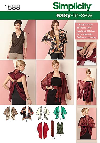 023ab5cef2f Simplicity 1588 Size A Kimono Jacket and Wrap Sewing Pattern