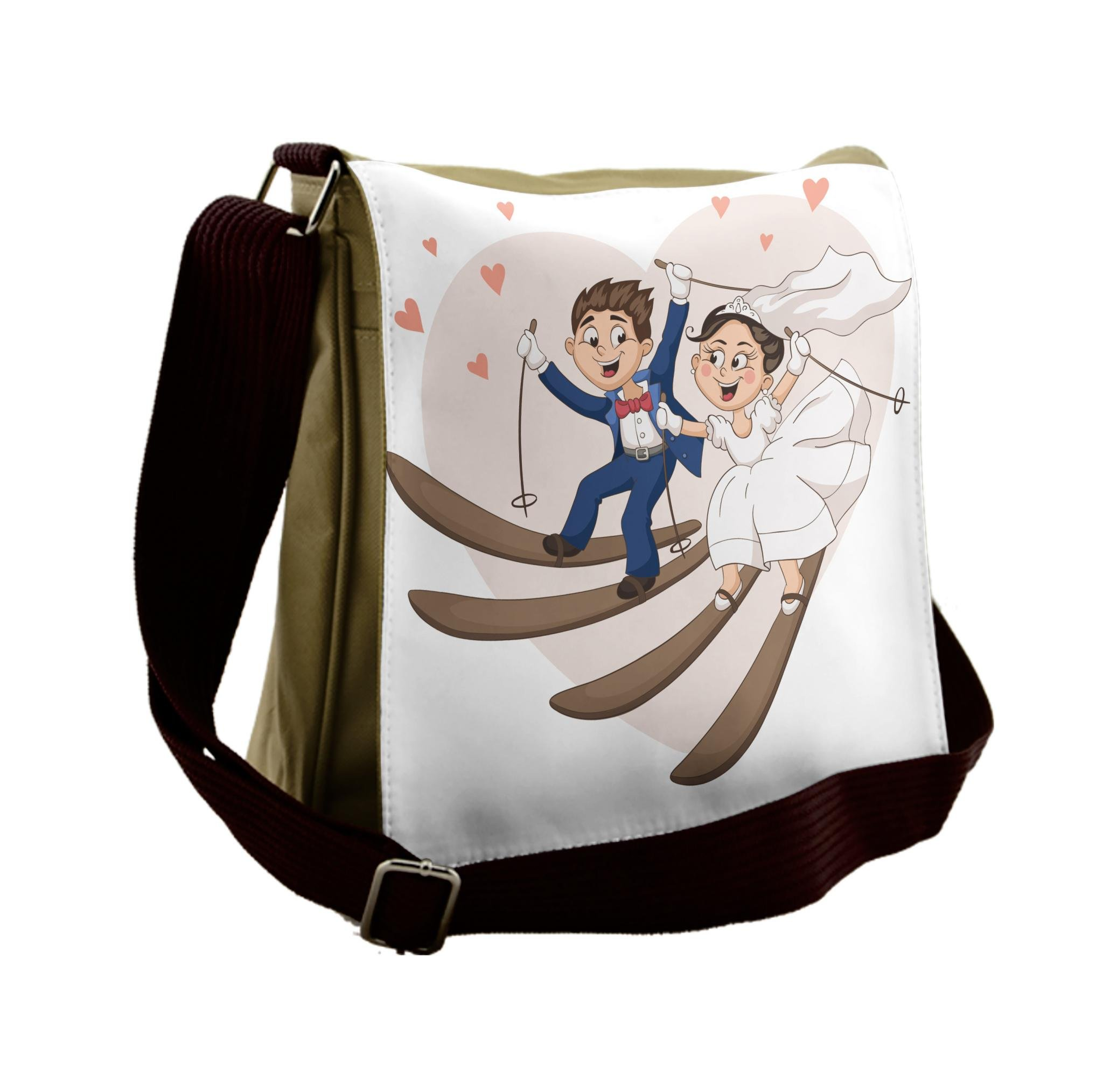 Lunarable Wedding Messenger Bag, Bride Groom Skiing Cartoon, Unisex Cross-body