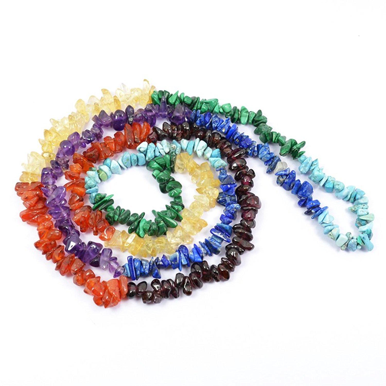 7 Chakra Crystal Stone Chip Mala Healing Gemstone For Unisex