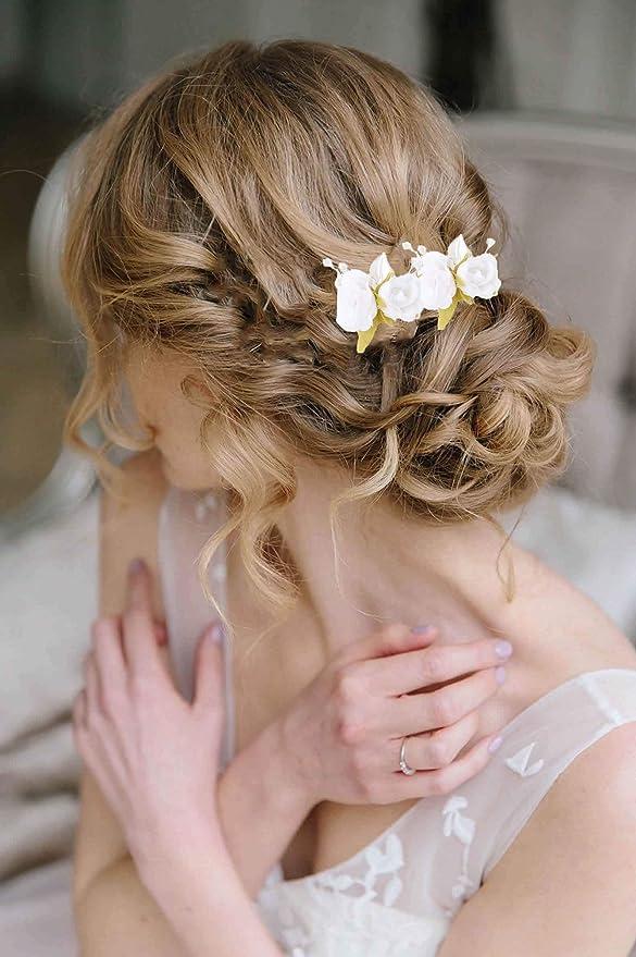 Simsly - Horquillas para el pelo de novia, diseño de flores ...