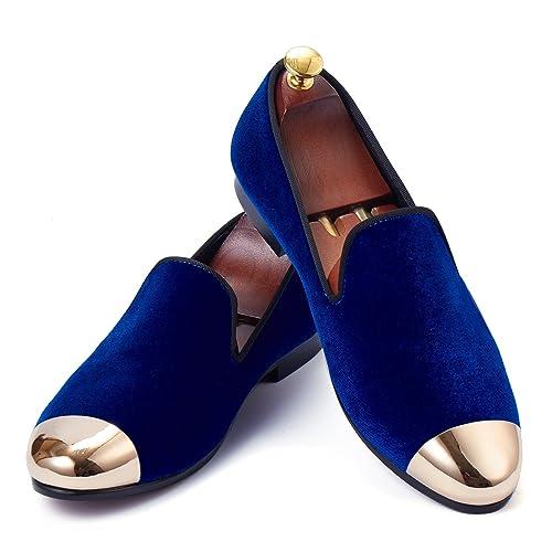 Harpelunde - Mocasines de Terciopelo para Hombre Azul Azul, Color Azul, Talla 47 EU