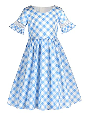 9a3b7b5e0d57 Sharequeen Trumpet Sleeves Girls Dresses Simple Cotton Toddlers ...