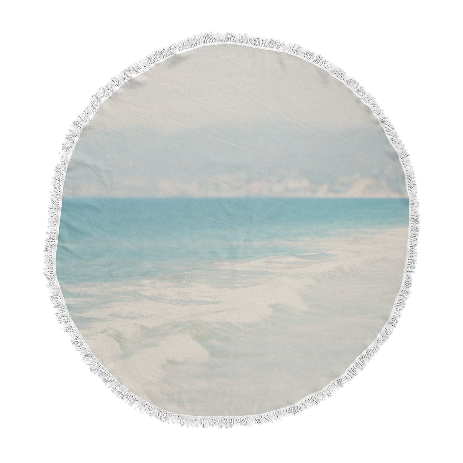 Kess InHouse Laura Evans Waves Blue Gray Round Beach Towel Blanket