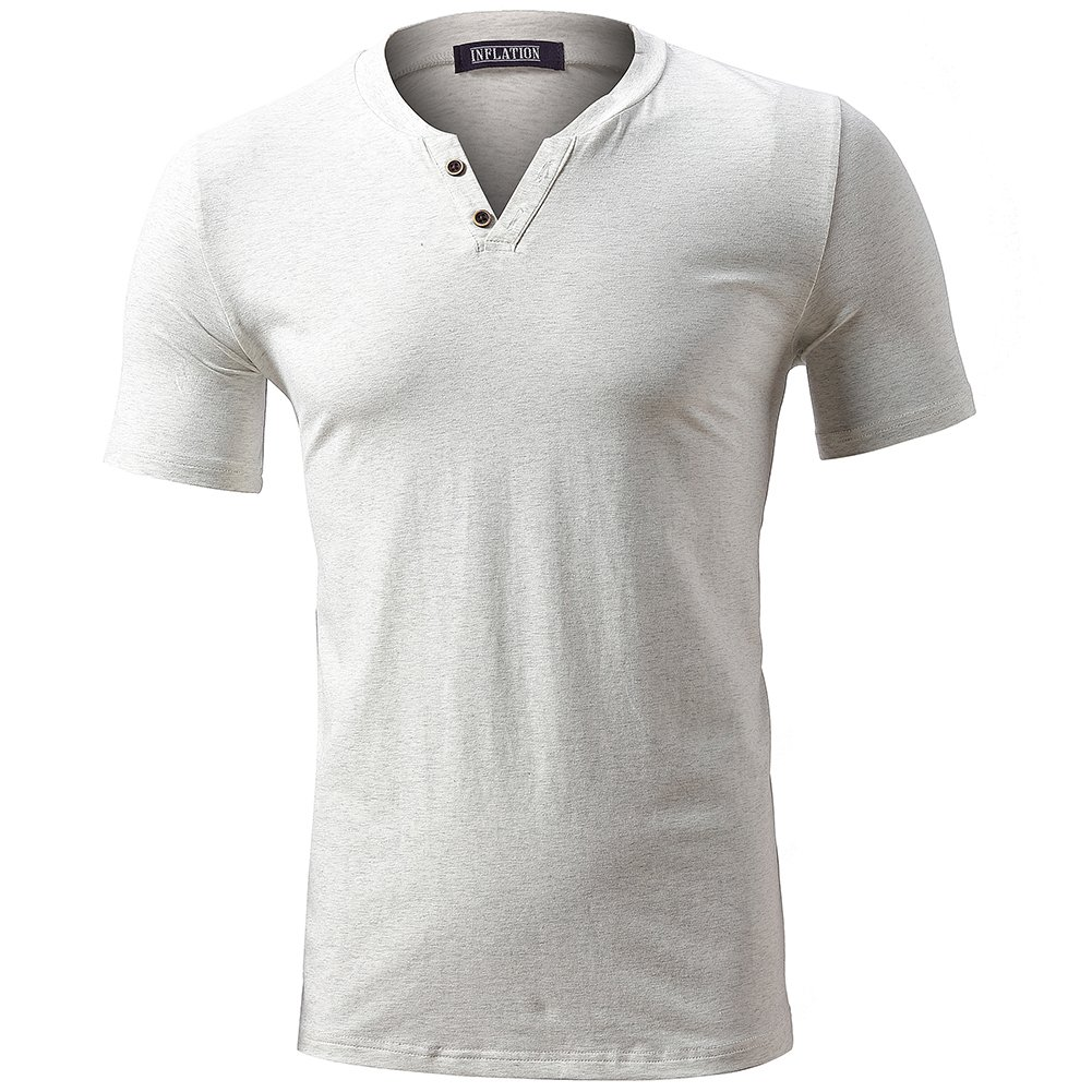 FLY HAWK T-Shirts for Men Ultra Soft Cotton Short Sleeve Shirts Summer Tops Beige Size 3XL by FLY HAWK (Image #2)