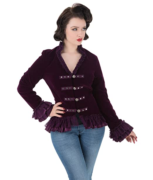 H&R London Victoriano Alternativa Corsé Terciopelo COLA Chaqueta - Morado, ...