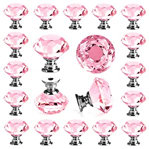 25 pcs Crystal Pink Glass Drawer Pulls 30 mm Decorative Knobs for Kitchen Bathroom Cabinet, Dresser and Cupboard by DeElf
